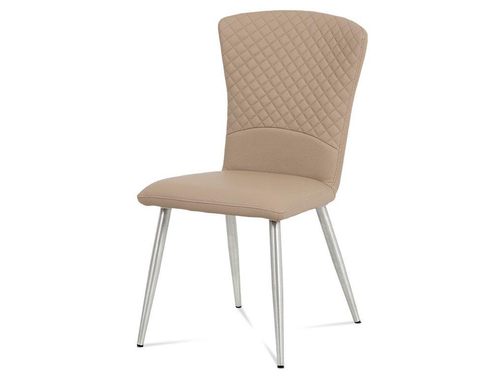 Jídelní židle koženka cappuccino / broušený nerez