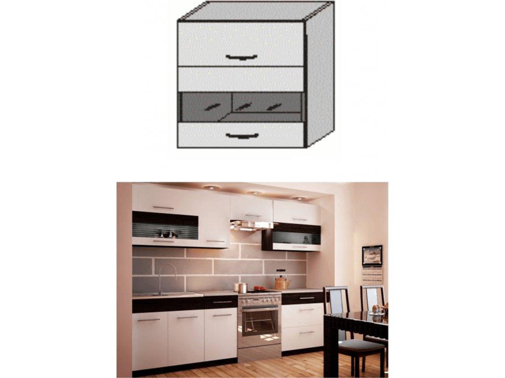 Horní skříňka, bílá / wenge, JURA NEW B GW1-80