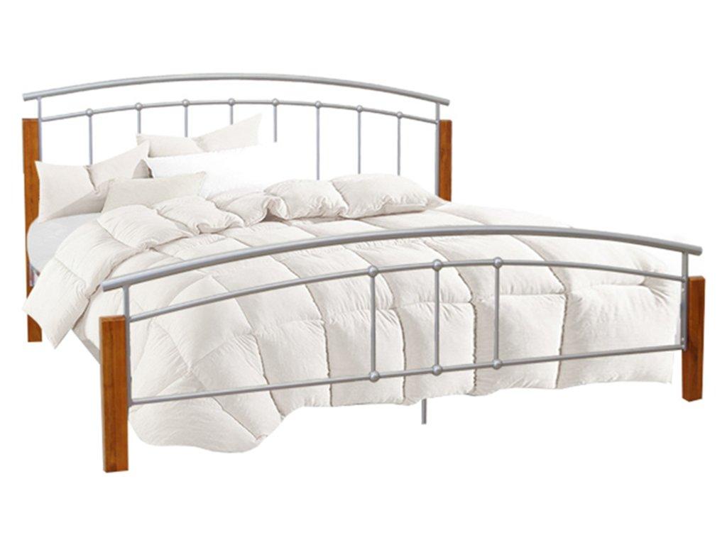 Manželská postel, dřevo olše/stříbrný kov, 160x200, MIRELA