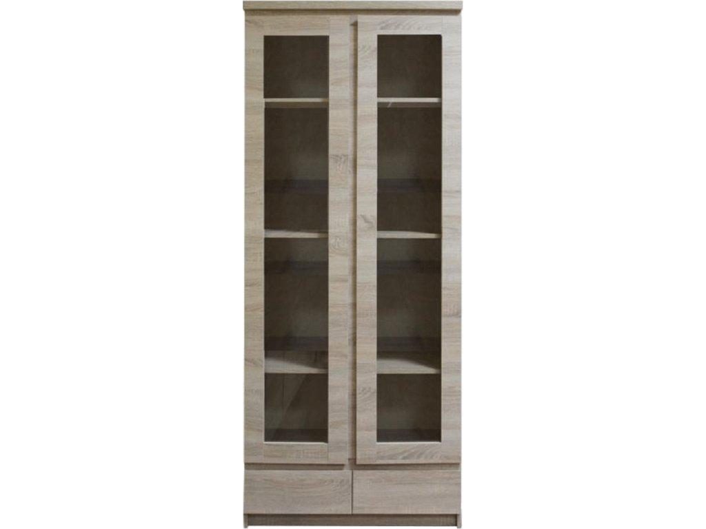 Vitrína s vysokými prosklenými dveřmi a 2 zásuvkami