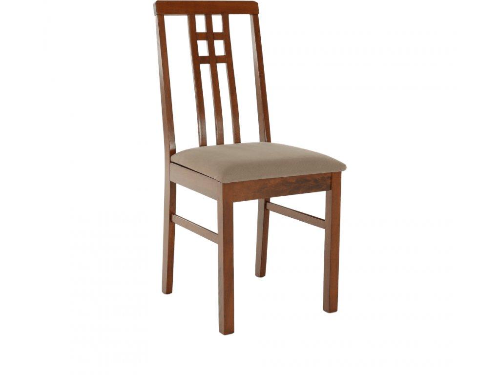 Dřevěná hnědá židle s čalouněným sedákem