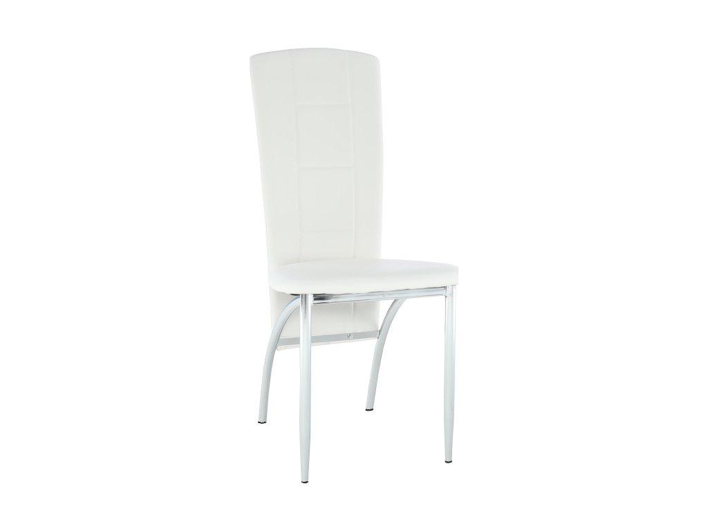 Praktická bílá koženková židle, snadná údržba, kovová podnož