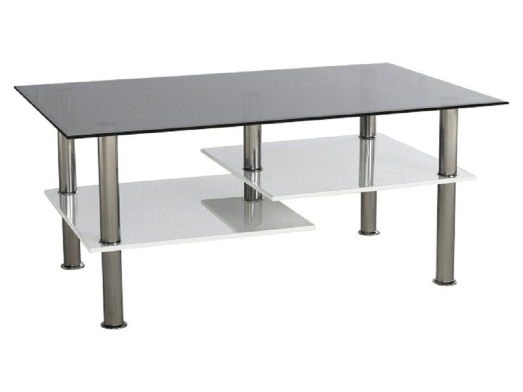 Konferenční stolek, bílá extra vysoký lesk HG / sklo, SVEN