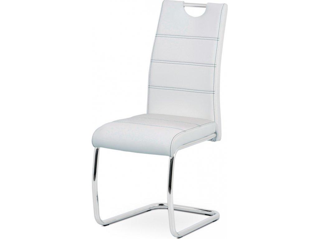 Jídelní židle, bílá ekokůže, černé prošití, kov chrom