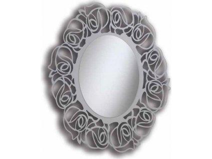 Oválné zrcadlo, rám v odstínu perleťové holubí šedi