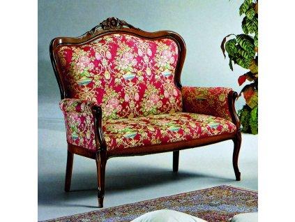 Salónní stylová pohovka polstrovaná rokoko bordó vzor květy 120x60x105