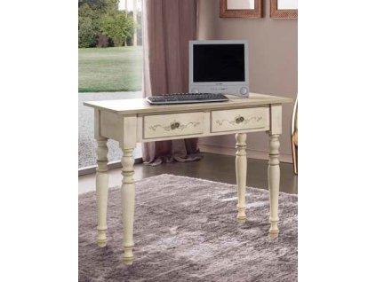 Zdobený stylový psací stůl v barvě antické slonové kosti