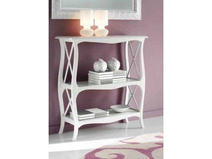 Odkládací stolek s policemi v bílé barvě