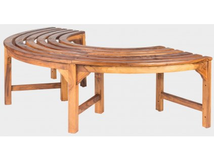 Půlkulatá lavice bez zad kolem stolu