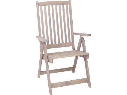 Šedá dřevěná židle, borovice, područky, vysoké opěradlo