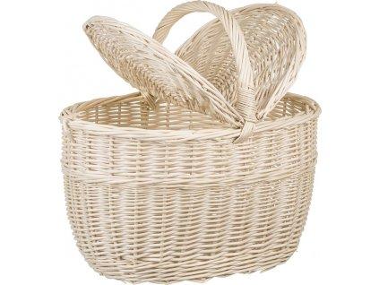 Dřevobox Proutěný piknikový koš bílý