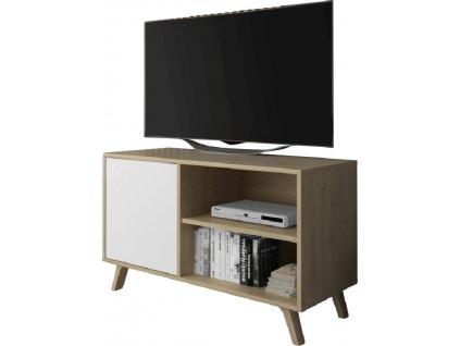 RTV stolek 100, dub puccini/bílá, LAND