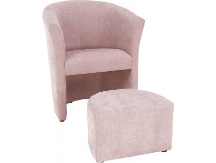 Klubové křeslo s taburetem, pudrová růžová, ROSE