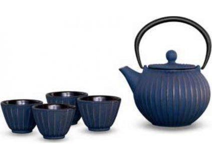 Litinová čajová konvice s filtrem 500ml, modro-zlatá v sadě se 4 šálky - WD Lifestyle