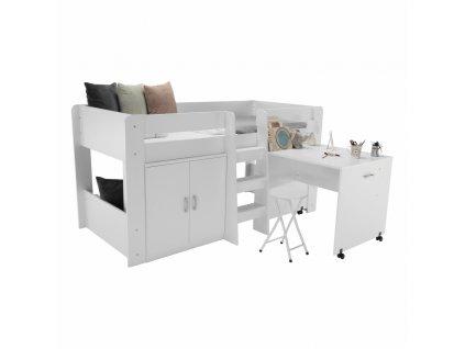 Kombinovaná postel do dětského pokoje, bílá, FANY