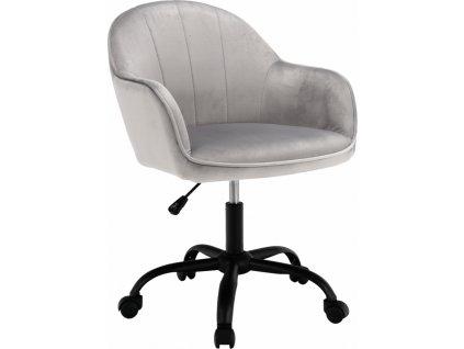 Kancelářské křeslo, Velvet látka světle šedá/černá, Erol