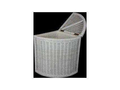 Ratanový prádelní koš rohový - bílý ratan N078W