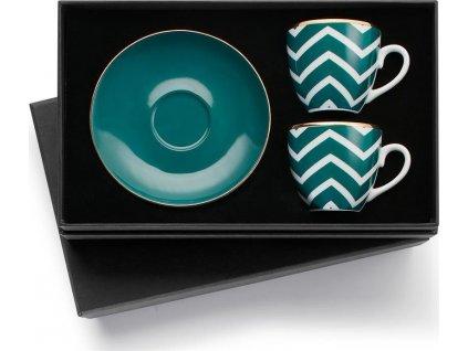 Turecký kávový set 2 šálků s podšálky, tyrkysová vlna - Selamlique