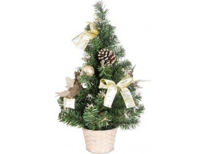 Stromeček ozdobený, umělá vánoční dekorace, barva zlato-bílá