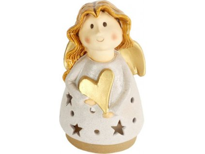 Anděl, keramická dekorace na čajovou svíčku, barva béžová