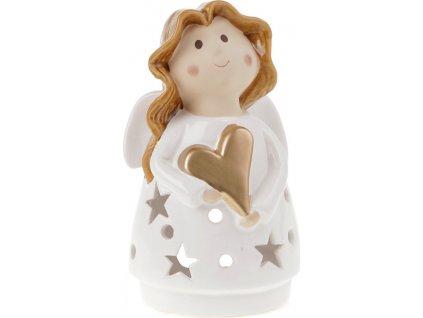 Anděl, keramická dekorace na čajovou svíčku, barva bílá