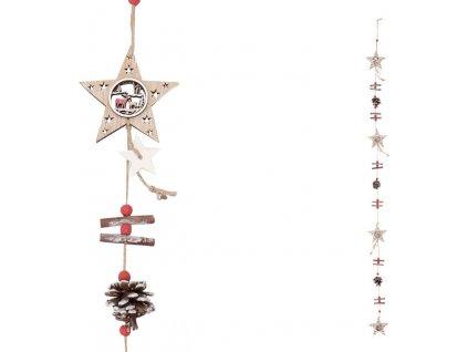 Girlanda s dřevěnými vánočními dekoracemi , hvězdičky a šišky