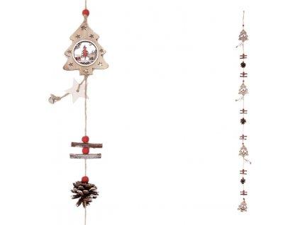 Girlanda s dřevěnými vánočními dekoracemi, stromečky a šišky