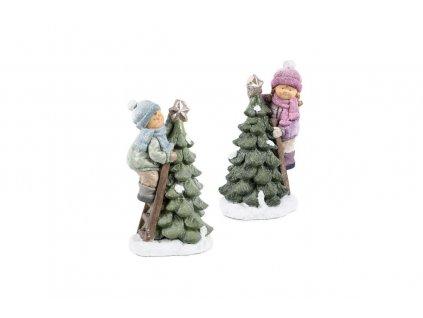 Dítě se stromkem, magneziová keramika, svítící LED, mix 2 barev.