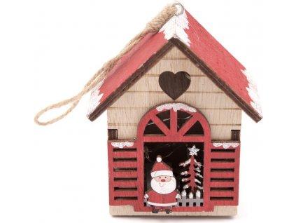 Domeček, dřevěná  vánoční dekorace na pověšení