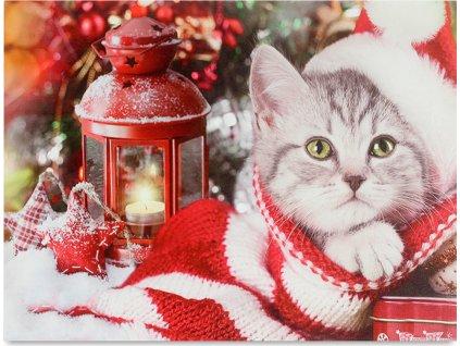 Obraz, dekorace se stojánkem, svíticí - 1 ks LED světla, zimní motiv