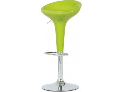 Barová židle, limetkový plast, chromová podnož, výškově nastavitelná