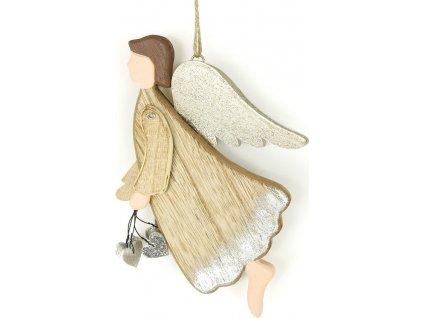 Andělíček, závěsná dřevěná vánoční dekorace