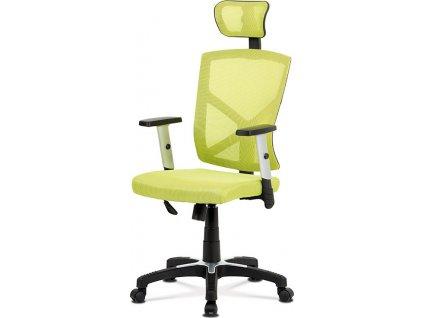 Kancelářská židle, potah zelená látka MESH a síťovina, MESH, černý plastový kříž, houpací mechanismus, stavitelné opěrky