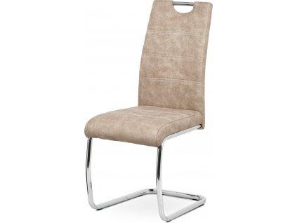 Jídelní židle, potah krémová látka COWBOY v dekoru vintage kůže, kovová chromova