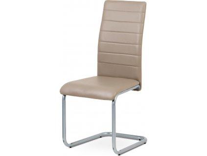 Jídelní židle, koženka cappuccino / šedý lak