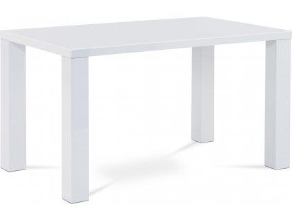 Jídelní stůl do moderního interiéru 135x80x76 cm, vysoký lesk bílý