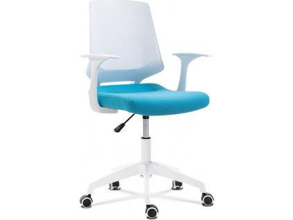 Kancelářská židle, sedák modrá látka, bílý PP plast, výškově nastavitelná
