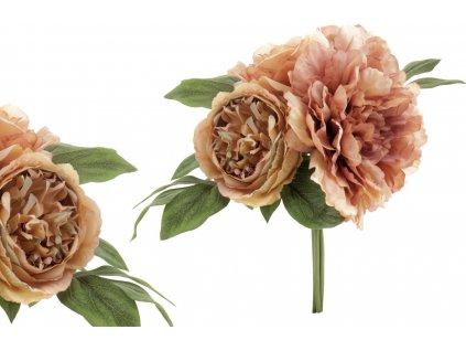 Puget z umělých květin, barva růžovo-kávová