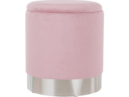 Taburet s úložným prostorem, růžová Velvet látka / stříbrná chrom, Daron