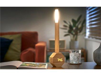 """Lampa """"Octagon One"""" s vestavěnými hodinami, bambus - Gingko"""