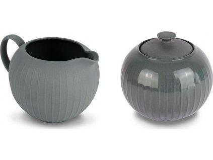 Porcelánový set cukřenky a mléčenky, šedý - WD Lifestyle