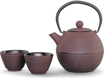 Litinová čajová konvice s filtrem 1000ml, rubínová v sadě se 4 šálky - WD Lifestyle