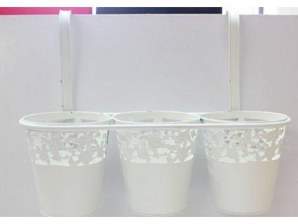 Bílé kovové květináče na pověšení 330133