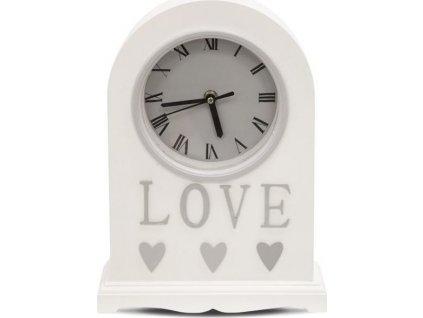 Bílé stolní hodiny love 110501