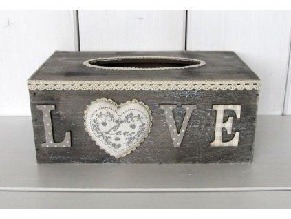 Dřevěná krabička na kapesníky love HH0042