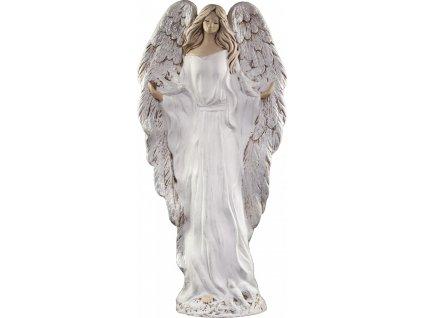 Anděl ze sádry Gloria bílý se stříbrnými křídly 127-29-SB