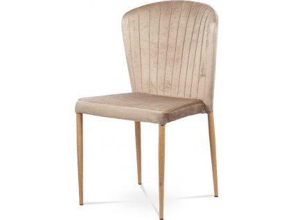 Jídelní židle, krémová sametová látka, kovová podnož, 3D dekor dub