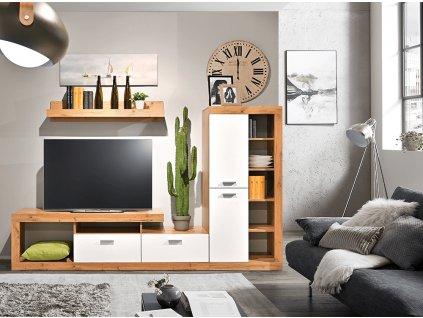 Obývací stěna, dub wotan/bílá, FIJI