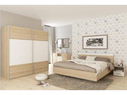 Ložnicový komplet (postel 180x200 cm), dub sonoma / bílá, GABRIELA