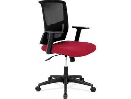 Kancelářská židle, látka vínová + černá, houpací mechnismus